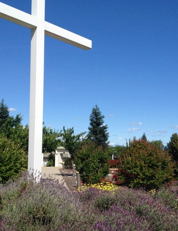 Simpson University cross in spring