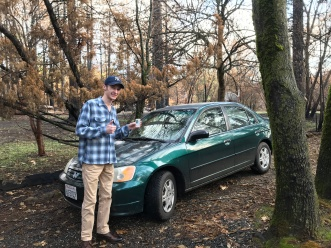 Tommy Hail bought this car a month before the Camp Fire but did not get to drive it until he got his license a month after. The car survived the blaze.